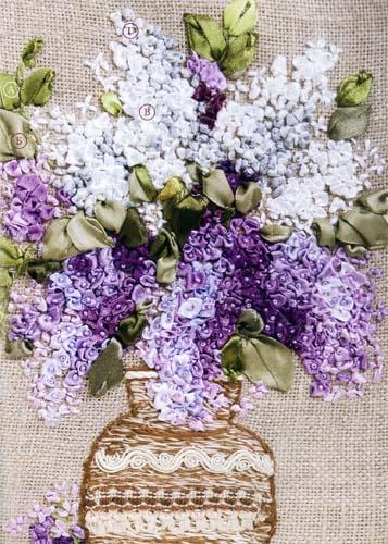 Вышивка лентами: Сирень в вазе