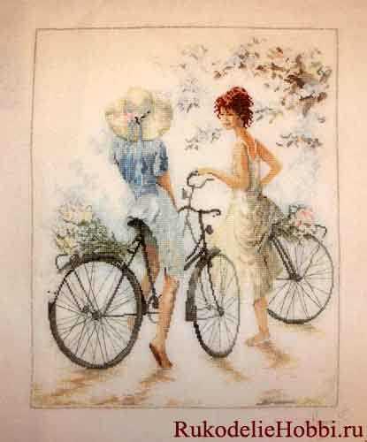 Девочка на велосипеде вышивка